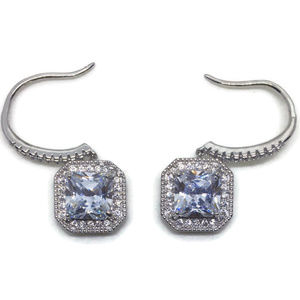 white gold on silver dangle hook earring square CZ